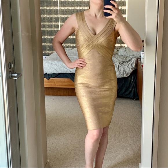 Herve Leger Dresses & Skirts - Herve Leger Gold Metallic Foil dress